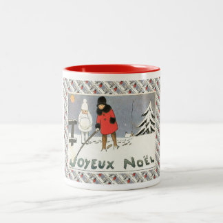 Vintage French Christmas, Children in the snow Two-Tone Mug