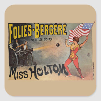 Vintage French Circus Sideshow Poster Square Stickers