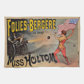 Vintage French Circus Sideshow Poster Tea Towel