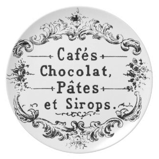 Vintage French Coffee & Chocolate Label Plate