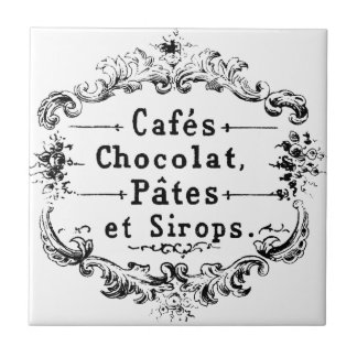 Vintage French Coffee & Chocolate Label Small Square Tile