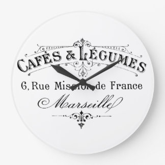 Vintage French Coffee & Vegetables Ad Large Clock