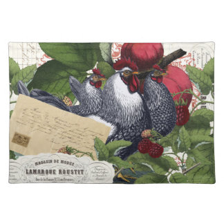 Vintage French Country Kitchen Chickens Collage Placemat