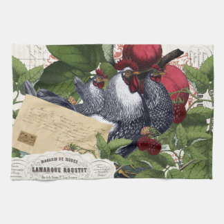 Vintage French Country Kitchen Chickens Collage Tea Towel