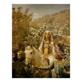 Vintage French Country Lady Garden Horse Art Print