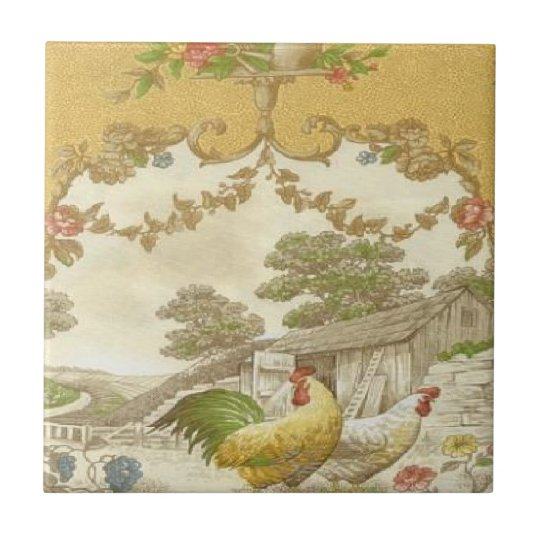 Vintage French Country Rooster Hen Ceramic Tile