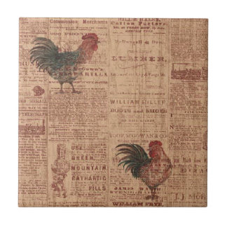 Vintage French Country Roosters Ceramic Tile