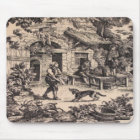 Vintage French Country Toile Black Mousepad