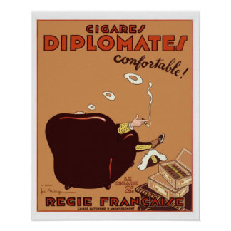 Vintage French Diplomates Cigar Poster