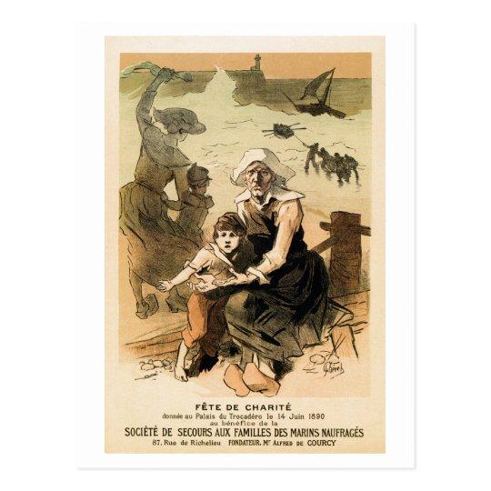 Vintage French drowned seamen charity ball Paris Postcard