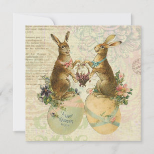 Vintage French Easter bunnies Holiday Card