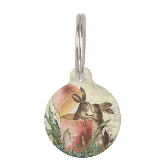 Vintage French Easter bunnies Pet Tag