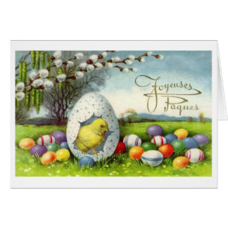Vintage French Easter Joyeuses Pâques Card Greeting Card