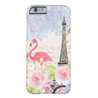 Vintage french Eiffel Tower cute flamingo flowers Barely There iPhone 6 Case