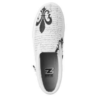 Vintage French Ephemera B & W Fleur De Lis Slip-On Shoes