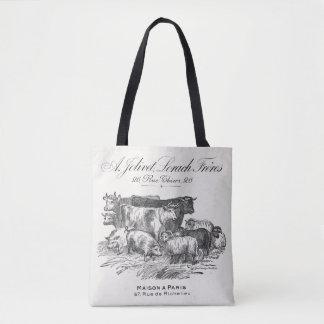Vintage French farm animals 16x16 tote bag