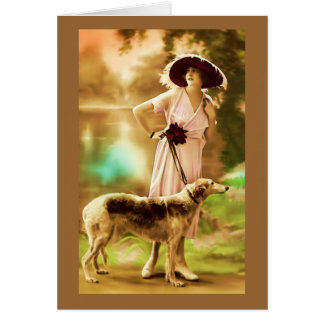 Vintage French fashion model with dog III Greeting Card