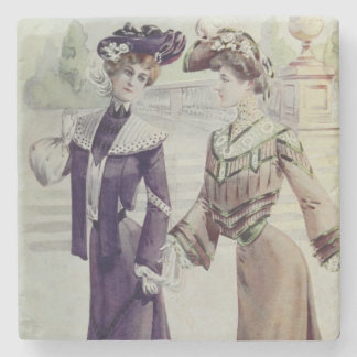 Vintage French Fashion – Violet, Brown Dress Stone Coaster