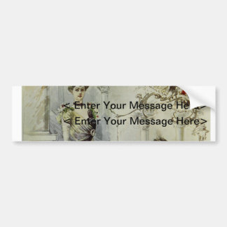 Vintage French Fashion – White and Red Dress Bumper Sticker