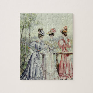 Vintage French Fashion - White, Peach,Gray Dress Jigsaw Puzzles