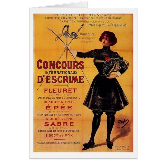 Vintage French Fencing Competition Advertisement! Card