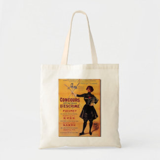 Vintage French Fencing Competition Poster Tote Bag