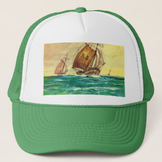 Vintage French Fishing boats at sea Trucker Hat