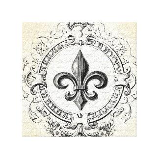 Vintage French Fleur de Lis stretched canvas
