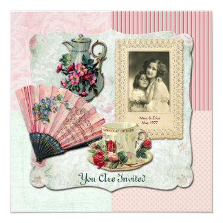 Vintage French Floral Teacup Pink Fan Lace Frame Card