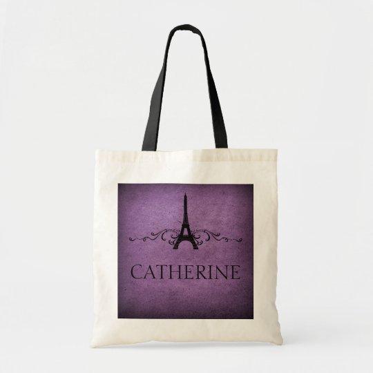 Vintage French Flourish Bag, Purple Tote Bag