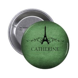 Vintage French Flourish Button, Green 6 Cm Round Badge