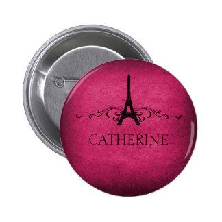 Vintage French Flourish Button, Pink 6 Cm Round Badge