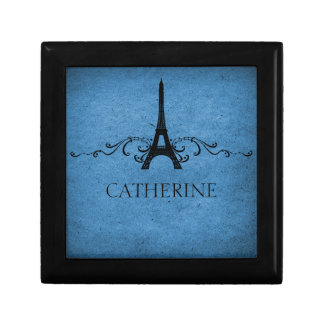 Vintage French Flourish Gift Box, Blue Small Square Gift Box