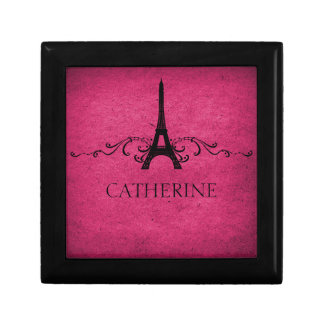 Vintage French Flourish Gift Box, Pink Small Square Gift Box