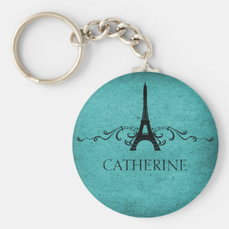 Vintage French Flourish Keychain, Teal Basic Round Button Key Ring