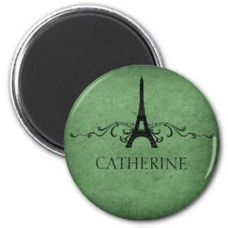 Vintage French Flourish Magnet, Green 6 Cm Round Magnet