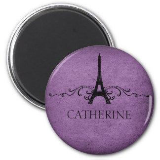 Vintage French Flourish Magnet, Purple 6 Cm Round Magnet