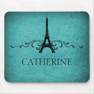 Vintage French Flourish Mousepad, Teal Mouse Mat