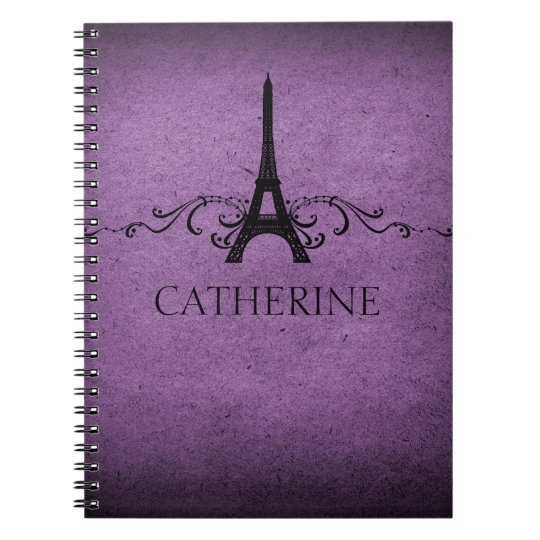 Vintage French Flourish Notebook, Purple Notebooks