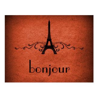 Vintage French Flourish Postcard, Orange Postcard