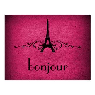 Vintage French Flourish Postcard, Pink Postcard
