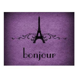 Vintage French Flourish Postcard, Purple Postcard