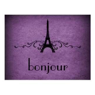 Vintage French Flourish Postcard, Purple Postcard