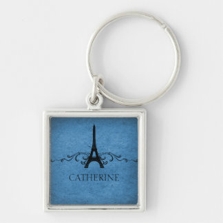 Vintage French Flourish Premium Keychain, Blue Silver-Colored Square Key Ring