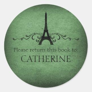 Vintage French Flourish Stickers, Green Classic Round Sticker