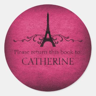 Vintage French Flourish Stickers, Pink Round Sticker