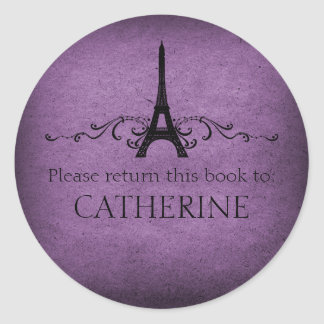 Vintage French Flourish Stickers, Purple Classic Round Sticker
