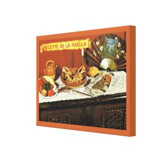 Vintage French Food, Recette de la Paella Canvas Print