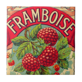 Vintage French Framboise (Raspberry) Small Square Tile