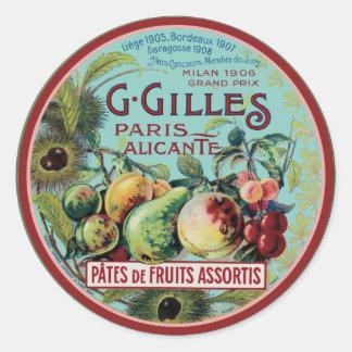 Vintage French Fruit Label Round Sticker
